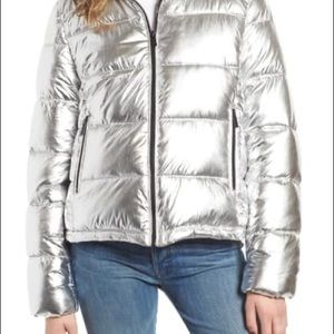 Marc New York Metallic Silver Puffer Jacket